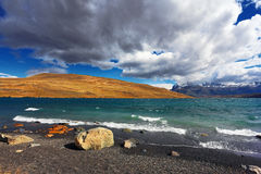 The high waves on Lake Laguna Azul Royalty Free Stock Photography