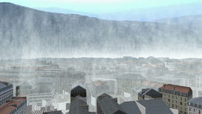High waves over 3d city stock footage