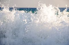High waves with splashes in the Mediterranean Sea Stock Image