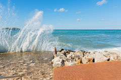 High waves and water splashes in Istria, Croatia Stock Photography