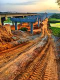 High way construction, China countryside royalty free stock photo