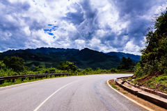 High way. Mountain in the clouds on the road to Son La province, Viet nam Royalty Free Stock Image