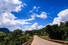 High way. Mountain in the clouds on the road to Son La province, Viet nam Stock Image