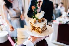High white cake with nuts stock images