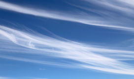 High white cirrostratusin the blue sky Stock Image