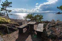 High wiew point looking out over the lake Vaettern in Sweden. A lovely day Royalty Free Stock Photo