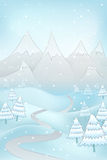 High winter landscape with road to mountains and spruce trees around vector Royalty Free Stock Photos
