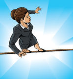 High wire business girl Royalty Free Stock Image