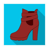 High women red shoes for everyday wear .Different shoes single icon in flat style vector symbol stock illustration. Stock Images