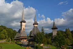 High wooden church in Maramures. Barsana - the largest monastery in Maramures, Romania. One of the most beautiful wooden Orthodox churches Stock Photography