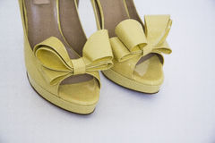 High yellow shoes Stock Photography