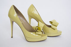 High yellow shoes Royalty Free Stock Images