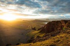 Highand no por do sol em Islândia Imagem de Stock Royalty Free