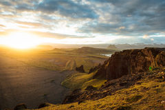 Highand at sunset in iceland Royalty Free Stock Image