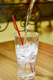 Highball glass with ice Royalty Free Stock Photos