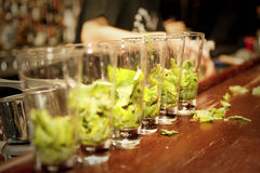 Highball glasses with mint - preparing mojitas Royalty Free Stock Images