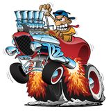 Highboy Hot Rod Race Car Cartoon Vector Illustration. Awesome classic highboy hot rod, huge engine with flaming exhaust, smoking tires, crazy driver behind the stock illustration