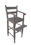 Highchair en bois antique d'enfant d'isolement. image libre de droits