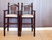 Highchairs in restaurant for kids Royalty Free Stock Photography