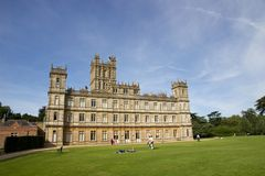 Highclere Castle, England. A view of Highclere Castle in Hampshire, England, United Kingdom. Owned by the Earls of Carnarvon, it is now famous globally as the Royalty Free Stock Images