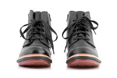 Higher black leather boots. Royalty Free Stock Image
