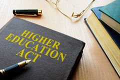 Higher Education Act HEA. Higher Education Act HEA on a desk royalty free stock photography