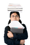 Higher Education : diligent student. Smart looking student gazing at the burden she must carry and bite her homework papers Royalty Free Stock Photos