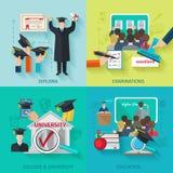 Higher Education Flat Set Royalty Free Stock Photos