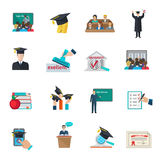 Higher education icons set. Higher education and graduation with cloaks and academic caps icons set flat isolated vector illustration vector illustration