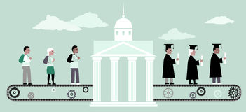 Higher education machine. Young people riding a conveyor belt to the university building, from the other side people in graduation caps and capes coming out of stock illustration