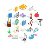 Higher educational institution icons set, isometric style. Higher educational institution icons set. Isometric set of 25 higher educational institution vector Stock Image