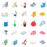 Higher educational institution icons set, isometric style Royalty Free Stock Photo