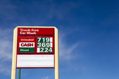 Higher Gas Prices. A sign with high gas prices-economy Royalty Free Stock Image
