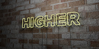 HIGHER - Glowing Neon Sign on stonework wall - 3D rendered royalty free stock illustration Stock Photography