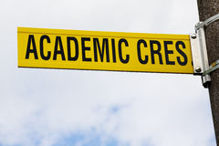 Higher Learning - Academic Crescent. A college road sign indicative of the service they provide stock photos