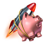 Higher Savings. Account piggy bank with a rocket strapped on to its back as a fast rising interest rate in an account and financial success with strong Stock Image