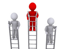 Higher on top of ladder. Three 3d persons on ladders and one is higher Royalty Free Stock Photo