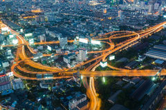 Highest Aerial view of Bangkok Highway interchanged. At Dusk in Thailand stock photos