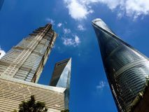 Highest building in Shanghai. The three highest buildings against sky  in shanghai, China stock photography