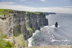 Highest elevation of the Cliffs of Moher. In South West Ireland royalty free stock image
