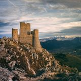 Rocca Calascio. The highest fortress in the Apennines, Rocca Calascio is 1,460 metres 4,790 ft above sea level, easily seen from the cities below Royalty Free Stock Photography