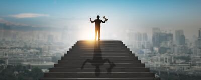 Free Highest Goal Achievement And Success Concept, Successful Business Man, Leader Businessman, Winner Climbing Up To Top Of High Stair Royalty Free Stock Images - 180086149