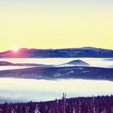 Highest hills above inverse mist. Winter cold weather in mountains. Colorful fog. Misty valley in winter mountains. Peaks of mountains above creamy mist stock photography