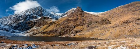 Highest Irish mountains covered with snow. Beautiful view on the highest Irish mountain Carrauntoohil, county Kerry, Ireland royalty free stock photo