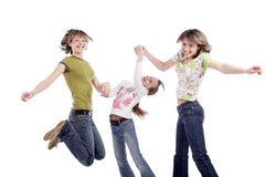 The highest jump. Portrait of a styled teens Royalty Free Stock Photos