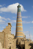 Highest minaret in Khiva - Islam Khoja Stock Photography