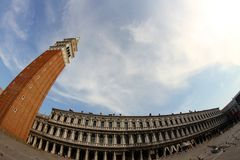 Highest and most famous campanile in Piazza San Marco in Venice Royalty Free Stock Photo