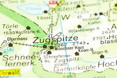 Highest mountain in Germany on map, Zugspitze, Bavaria. Germany stock photography
