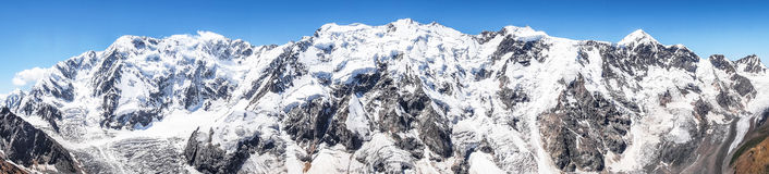 The highest mountain massif  of the Caucasus, the so-called Bezengi wall Stock Photos
