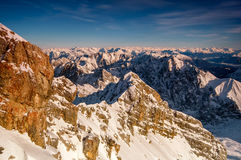 Highest mountain peak Zugspitze near Garmisch Partenkirchen. Bavaria, Germany. Royalty Free Stock Images